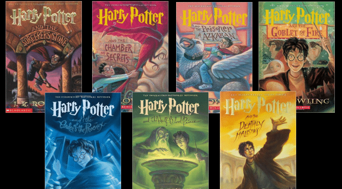 All seven of the Harry Potter Books in their correct order.